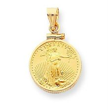 14k Yellow Gold Polish 1/10thoz American Eagle Coin Fancy Bezel Mounting Pendant