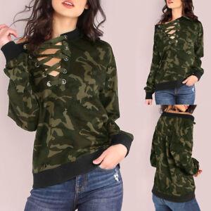 Women-Camouflage-Print-Sweatshirt-Top-Long-Sleeve-T-shirt-V-Neck-Bandage-Blouse