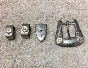 Vintage-Sterling-Silver-Belt-Tip-amp-2-Keepers-and-buckle