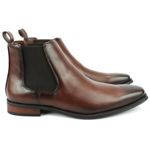 Men-039-s-Ankle-Dress-Boots-Slip-On-Almond-Round-Toe-Leather-Chelsea-Luciano-D-510