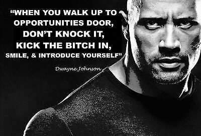 DWAYNE JOHNSON THE ROCK INSPIRATIONAL QUOTE Art fabric Poster print 24x36in A224
