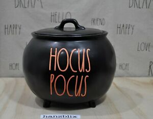 Rae-Dunn-HOCUS-POCUS-Large-Cauldron-Halloween-Black-Orange-Letter-NEW-HTF-039-20