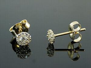 585-Gold-Ohrstecker-4-mm-Groesse-1-Paar-mit-Zirkonia-Steinen