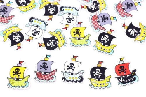 Pirate Ship Wooden Buttons Boat Halloween Decoration Materials Large 32mm 20pcs