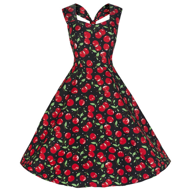 50s PARTY BLACK RED CHERRY VINTAGE SWING ROCKABILLY COCKTAIL PROM DRESS 10-16