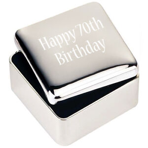 Image Is Loading Silver JEWELLERY TRINKET BOX GIFT Happy 70th Birthday