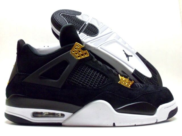 a239c00e4d69 NIKE AIR JORDAN 4 RETRO BLACK METALLIC GOLD-WHITE SIZE MEN S 10.5  308497