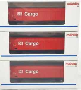 3x-Maerklin-48012-HO-3-Bahn-DB-AG-Cargo-Schiebe-Wand-Waggon-Gueterwagen