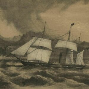 U-S-S-Frigate-Mississippi-at-sea-1856-Perry-Expedition-old-litho-view-print