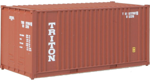 Brown Walthers HO Scale 20/' Ribbed-Side Shipping Intermodal Container Triton