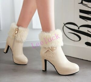 186100378791 Ladies Womens Block High Heels Shoes Ankle Boots Zip Fur Trim Round ...