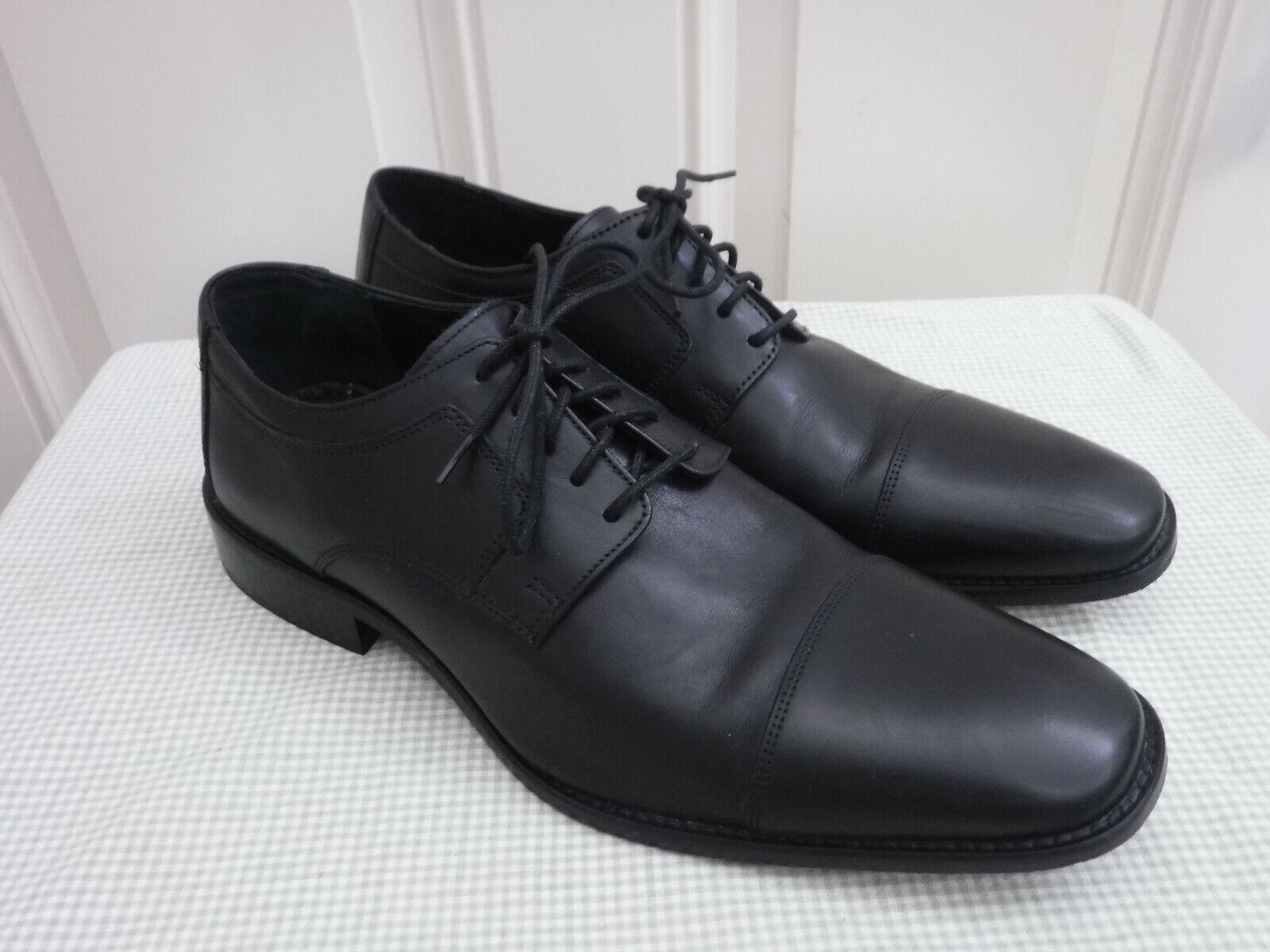 Men's JOHNSTON & MURPHY J. MURPHY 12 Black Leather Lace Cap Toe Dress Oxfords