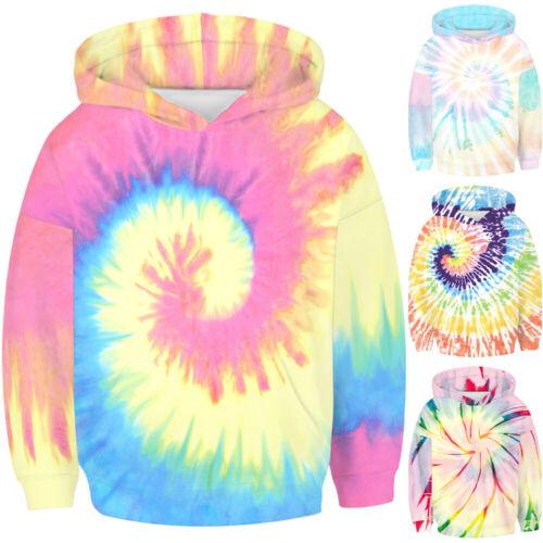 Kid Boy Girls Tie Dye Sweatshirt Long Sleeve Hooded Hoodies Pullover Jumper Tops