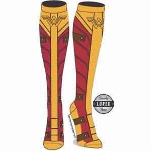 Wonder-Woman-Movie-DC-Comics-Knee-Socks-with-Gold-Lurex-Yarn-Licensed