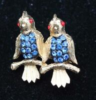 Signed Jj Goldtone Blue Rhinestones Double Bird Pin Brooch