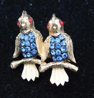 Signed Jj Goldtone Blue Rhinestones Double Bird Pin Brooch