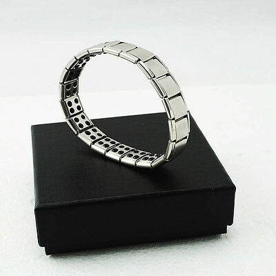 SILVER- Titanium Health Bracelet Power Nano Energy Germanium Magnetic Bid