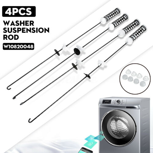 4x Washer Suspension Rods Set For Whirlpool W10820048 W10189077 PS11723157