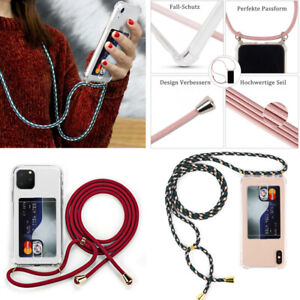 For iPhone 12 11 Pro Max XS 7 8 Crossbody With Lanyard Back Card Slot Clear Case