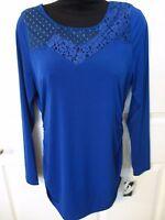 - Nine West Beautiful Ladies Blue Blouse Top W/lace Upper - Sz S - Msrp $49.