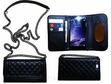 New Black Wallet Purse Case With Long Shoulder Straps & Mirror For iPhone 7 Plus