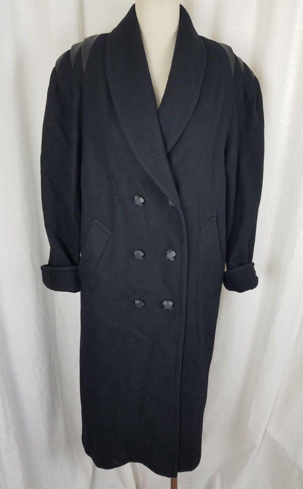 Vintage Jofeld Petites Forstman Winter Wool Pea coat Womens 12P Leather Accents