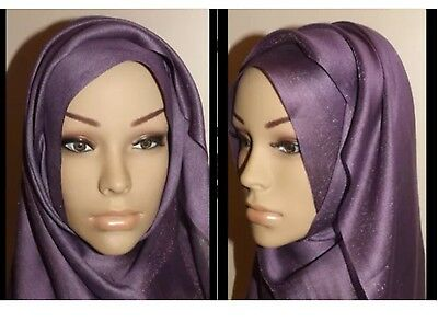 Ladies Purple Long Silky Shine Plain Viscose Faux Silk Scarf/Hijab Shawl/Wrap