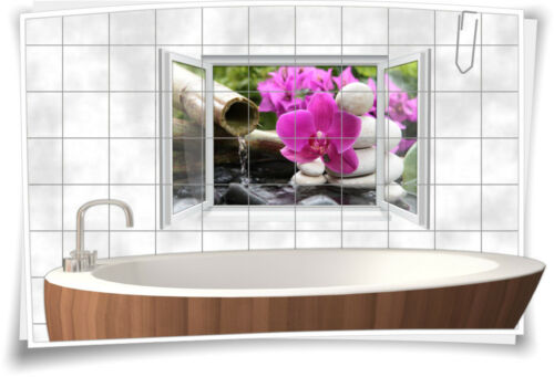 Tile Stickers Tile Picture Tile Wellness Floral Deco Stickers Spa Bathroom WC