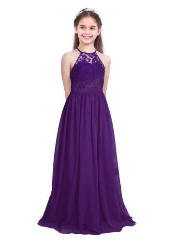 Kids Princess Dress Party Wedding Bridesmaid Flower Girl Long Maxi Chiffon Dress