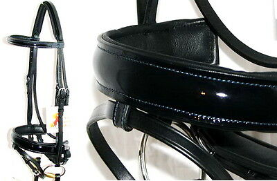 FSS PATENT Leather MIDNIGHT NAVY GLOSS Comfort Padded Poll Dressage Bridle Reins