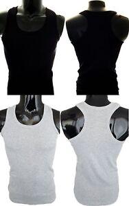 e45fcba15a80f9 Details zu Herren Muskelshirt Tank Top Achselshirt Unterhemd Schwarz Grau  100% Baumwolle