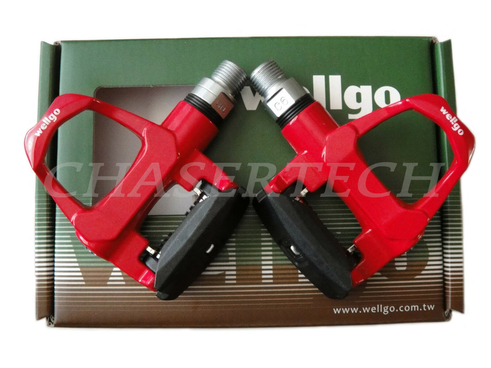 New Wellgo R096B Road Bike Magnesium Pedals Cr-Mo Axle 9 16  Red