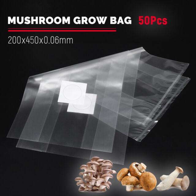 "50-100PCS PVC Mushroom Spawn Grow Bag 7×20/"" Substrate High Temp Pre Sealable US"