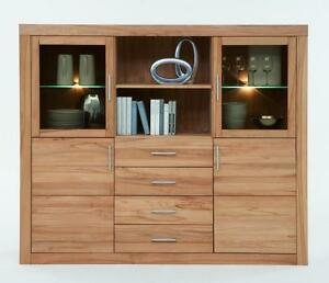 wohnzimmerschrank highboard vitrine kernbuche massiv holz. Black Bedroom Furniture Sets. Home Design Ideas