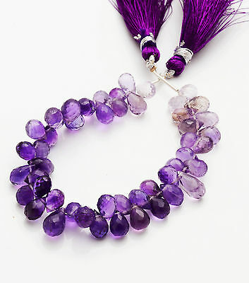 "89.cts 6."" SUPER AFRICAN AMETHYST-  FACETED DROP SHAPE BEADS AAA++ 7 TO 9MM"