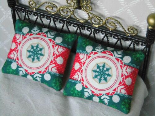 2er set en miniatura-navidad-giro-almohadas regalo muñecas Tube 1:12