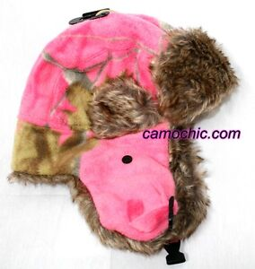 0a13606e7712c Image is loading REALTREE-HOT-PINK-FUCHSIA-CAMO-BOMBER-TRAPPER-HAT-