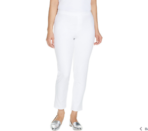 Isaac Mizrahi Live  Petite 24 7 Stretch Print or Solid Ankle Pants White sze P12