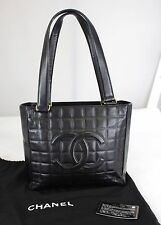 Authentic CHANEL Logo Quilted Black Lambskin Leather Tote Shoulder bag Purse