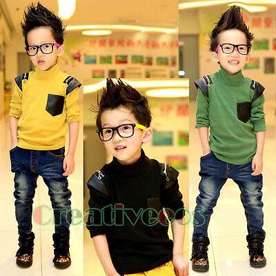 Fashion Kids Boy's Stitching High Neck 100%Cotton Casual Child Tops T-Shirt New