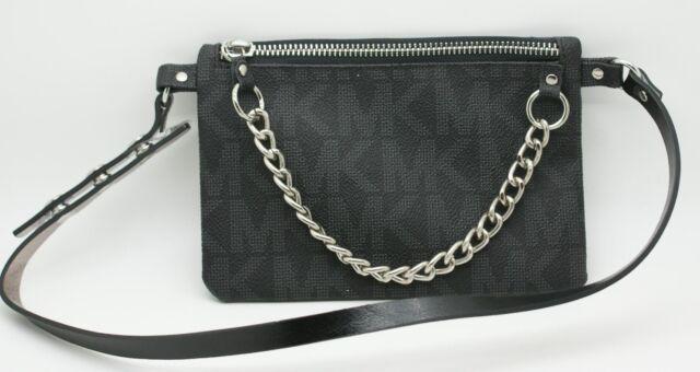 bb0a615bfe0fe6 MICHAEL Michael Kors Signature MK Logo Leather Belt Bag Fanny Pack Black S  NWT