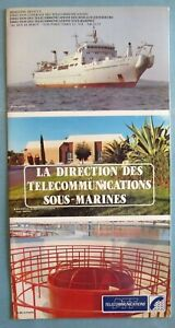 PTT-Telecommunications-sous-marines-rare-plaquette-navires-cabliers-cables