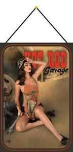 Hot-Rod-Garage-Pin-Up-Girl-Schild-mit-Kordel-Metal-Tin-Sign-20-x-30-cm-CC0291-K