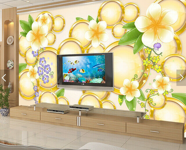 3D Golden Circles 86 Wall Paper Murals Wall Print Wall Wallpaper Mural AU Lemon