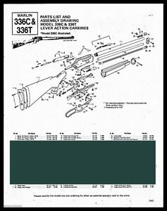 1990 MARLIN Model 336C & 336T Lever Action Carbine Parts List AD | on benelli m1 super 90 schematic, marlin 795 rifle schematic, marlin m9 parts schematic,