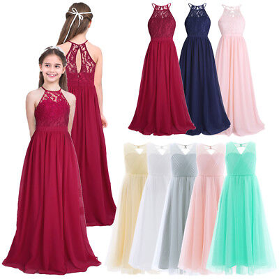 UK/_Chiffron Flower Girl Dress Wedding Bridesmaid Prom Gown Long Maxi Dress 4-14Y