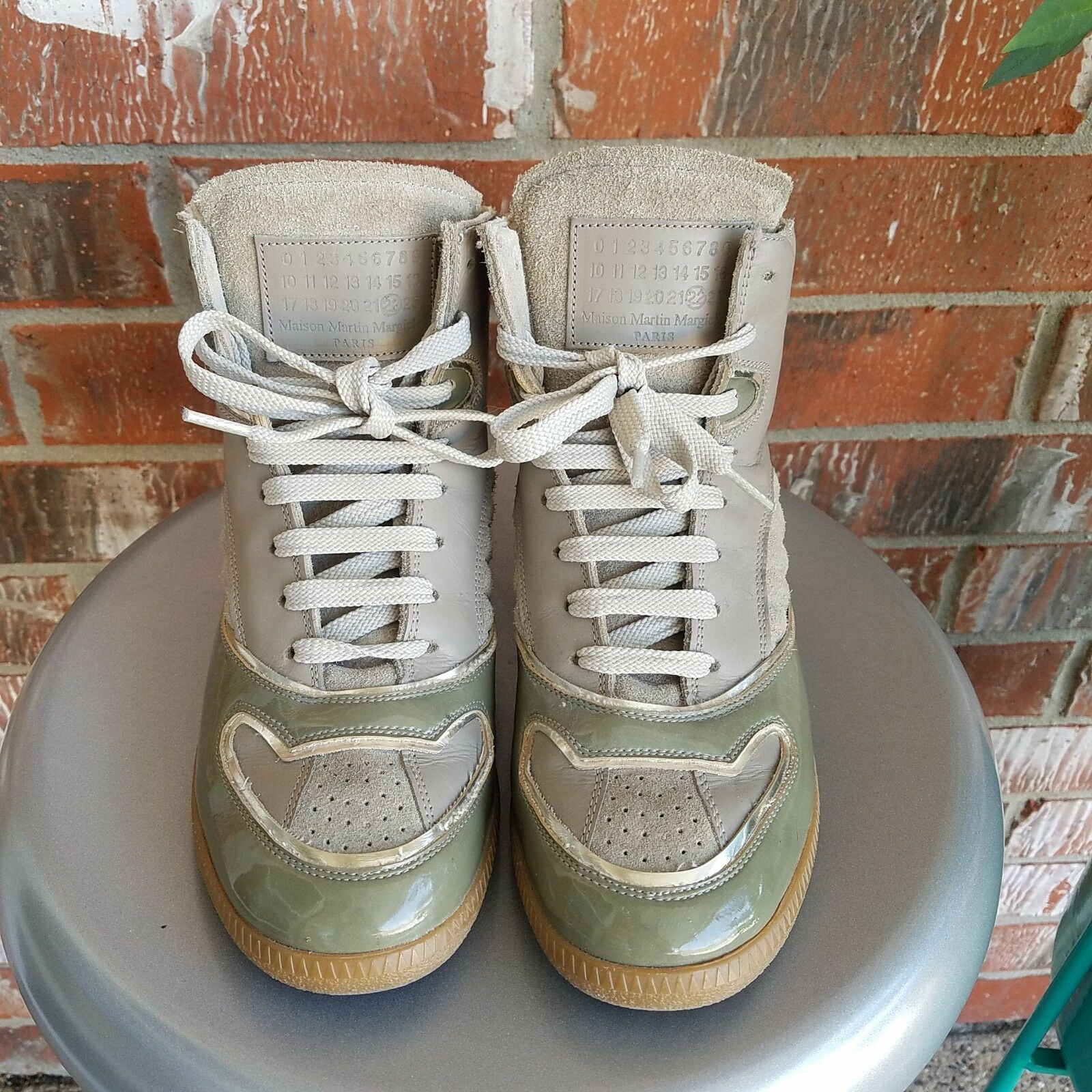 Auth Maison Martin Margiela Panelled High Top Taupe Olive Sneakers 37