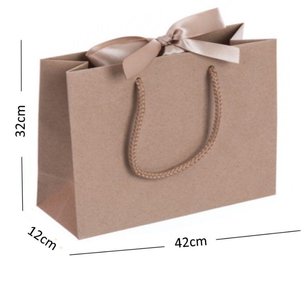Natural Kraft Large Boutique Shop Ribbon Gift Bags - Rope Handle Events Bag