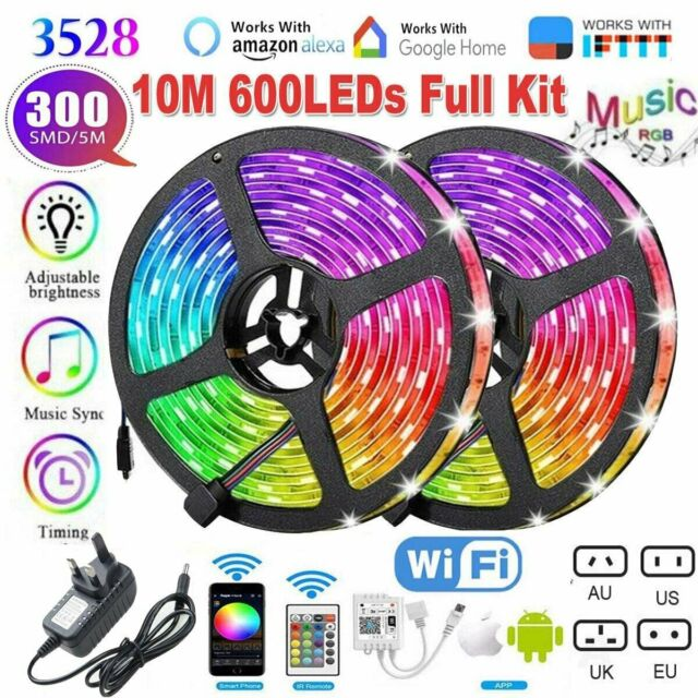 3528 Wifi Smart RGB LED Strip Lights 10M  Compatible with Alexa  Google Home 12V