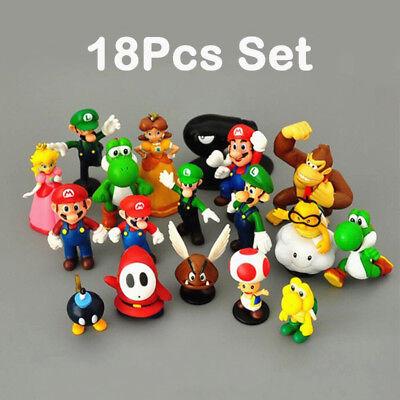 """18pcs Set 1-3/"""" Super Mario Bros figure toy doll pvc figure collectors by sanlise"""